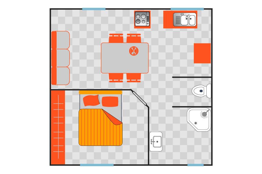 Camping la tuquette camping naturiste var accommodaties - Plan ouderslaapkamer met badkamer en kleedkamer ...